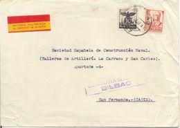 Factoría Militarizada Viñeta, Carta De Bilbao A San Fernando, Cádiz 1937 Auxilio Invierno, Censura, Lettre.cover. 2 Scan - Viñetas De La Guerra Civil