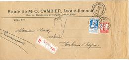 111/26 - Papiers D'Affaires RECOMMANDES Affranchissement MIXTE TP Grosse Barbe Et Pellens CHARLEROI 1912 - 1905 Thick Beard