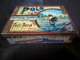 Boite Tole Lithographiée Box Cookie Gateau Magasin FELIX POTIN Paris Sport Polo C1900 Vintage ! - Other Collections