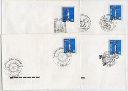 LATVIA 1991 Four Commemorative Postmarks On Stationery Envelopes Michel U3. - Latvia