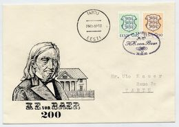 ESTONIA 1992 Commemorative Cover And Postmark Bicentenary Of Von Baer. - Estonia