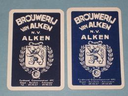 2x Losse Kaart Brouwerij Van Alken - Links Is Donkerder Blauw En Kleiner En Andere Joker - Playing Cards