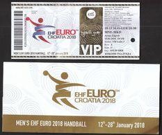 HANDBALL / MEN'S EHF EURO CROATIA 2018 / Ticket / Slovenia-Germany, Montenegro-Macedonia / 15.01.2018. - Eintrittskarten