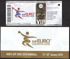HANDBALL / MEN'S EHF EURO CROATIA 2018 / Ticket / Germany-Montenegro, Macedonia-Slovenia / 13.01.2018. Zagreb - Eintrittskarten