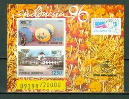 Indonesia 1996 - ZB Bl 122/123**, Yv Bl 101** Stamp Exposition Perf. + Imp.(get.+onget. - Dent. +non Dent.)MNH (2 Scans) - Indonésie