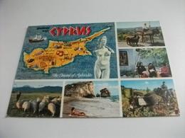 STORIA POSTALE FRANCOBOLLO COMMEMORATIVO CIPRO CYPRUS CARTA GEOGRAFICA  VEDUTE - Cipro