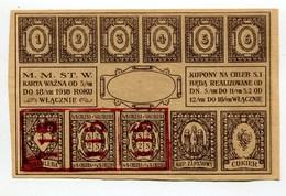 "Pologne Poland Polen "" Bread And Sugar Coupon "" Ticket WARSAW 1918 AUNC / UNC - Pologne"