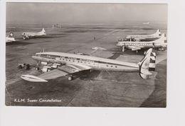 Vintage Rppc KLM K.L.M Royal Dutch Airlines Lockheed Constellation L-1049 @ Schiphol Amsterdam Airport - 1919-1938: Between Wars