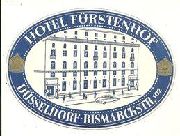 DUSSELDORF BISMARCKSTR ETIQUETTE HOTEL FURSTENHOP PUBLICITE ALLEMAGNE DUESSELDORF - Duesseldorf