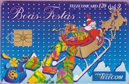 Télécarte Portugal °° 120 - Traineau Père Noël Boas Festas - RV 42AC   ***   LUXE - De Luxo - Portugal