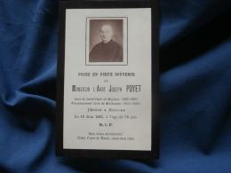 Faire-Part De Décès  Mr L'Abbé Joseph Poyet Décédé à Moulins à L'âge De 78 Ans - L349 - Avvisi Di Necrologio