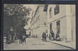 CROATIA POLA PULA STREET SCENE VIA LISSA OLD POSTCARD #07 - Croatia