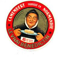 P 846 - ETIQUETTE DE FROMAGE -   CAMEMBERT   LE VRAI BENEDICTIN  14 Y (CALVADOS) - Cheese