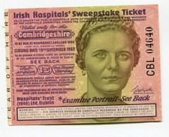 "Irlande Ireland "" Irish Hospitals' Sweepstake Ticket "" Cambridgeshire 1962 AUNC / UNC - Irlande"