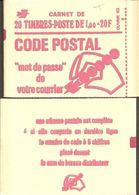 """CARNET 1892-C 3 Marianne De Béquet """"CODE POSTAL"""" Daté 8/11/76 Fermé. Parfait état TRES TRES RARE - Freimarke"""
