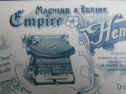 PARIS 2eme / HENRI DESCHE 41 RUE VIVIENNE / MACHINE ECRIRE EMPIRE / 1903 BELLE DECO / PETIT FORMAT - Unclassified