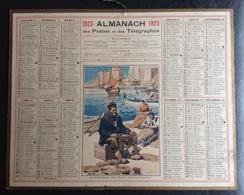 Beau Calendrier Illustré  PTT 1923 Villefranche Sur Mer  Pêcheur Départemnt Nord Lignes Chemin Fer Villes Villages - Big : 1921-40