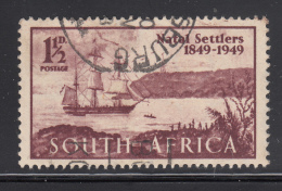 South Africa 1949 Used Scott #108a 1 1/2p 'Wanderer' In Port Natal - Used Stamps