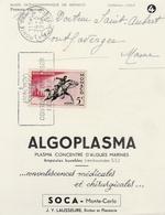 Monte-Carlo 1956 - Carte Laboratoire Algoplasma - Poisson Fish - Monaco