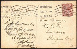 UK Angleterre Bootlepool Vers Congo Kinshasa - 1920 - TL2 - Belgian Congo