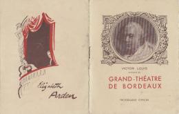 Programme - Grand Théâtre Bordeaux - Architecte - Magasin Ollagne Corsets Musique Elizabeth Arden - Pierre Dux - Programmi