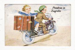 Croatie   ZAGREB   Carte à Système   Couple En Moto    Avec Dépliant 10 Vues - Croatia
