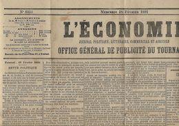 -Journal -L'ECONOMIE-Office Général De Publicité Du Tournaisis,le18 - Février 1891-44 ème.année- Bon état,complet- - Cultural