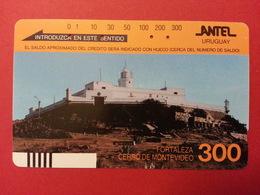URUGUAY Antel Tamura - 300u Fortaleza Cerro De Montevideo With Front Barcode - Used - Uruguay