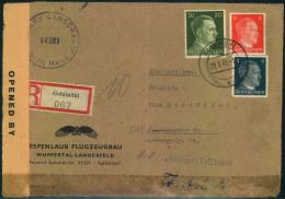 """1945, Einschreiben Ab GOLDMÜHL 29.3.45 Nach Stuttgart. Umschlag Mit Absender """"""""ESPENLAUB FLUGZEUGBAU"""""""". Überrollt Mit Br - Deutschland"""