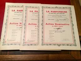 LA    PARFUMEUSE   ---------  Trois   Actions   De  100 Frs - Industry