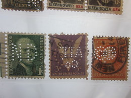3 Timbres Stamps United States Of America USA Amérique Perforés Perforé Perforés Perfin Perfins Perforated Perforations. - Perfins