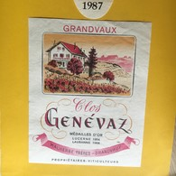 6506 - Clos Genévaz 1987 Malherbe Frères Grandvaux Suisse - Etiquettes