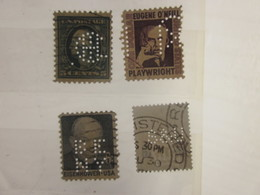 4 Timbres Stamps United States Of America USA Amérique Perforés Perforé Perforés Perfin Perfins Perforated Perforations. - Perfins
