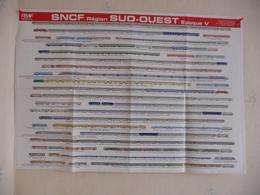 Poster Représentant La Composition De Trains Ayant Circulé Sur Le Réseau Sud-Ouest Dans Les Années 1970/80 - Spoorweg