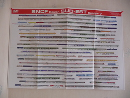 Poster Représentant La Composition De Trains Ayant Circulé Sur Le Réseau Sud-Est Dans Les Années 1970/80 - Spoorweg