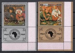 "Rwanda 1974 Sc. 612-3 ""The Money Changer And His Wife"" Quadro Dipinto Metsys Van Reymerswaele Paintings  Overprint MNH - Rwanda"