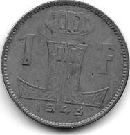 *belguim 1 Frank  1943 French Vf+ - 1934-1945: Leopold III