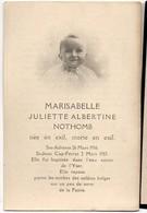 Marisabelle NOTHOMB °26/3/1916 Sainte-Adresse +2/3/1917 St-Jean Cap-Ferrat 2 ( Bikschote Tekst Achterzijde) PHOTO Enfant - Avvisi Di Necrologio