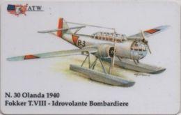 Scheda Telefonica ATW Serie Aerei N. 30 Fokker T. VIII Idrovolante Bombardiere Olanda 1940 - Aerei