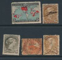 CANADA, 5 QV Stamps With Small Faults - Used Stamps