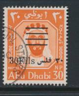 ABU DHABI, 1966 New Currency 30f On 30np VFU, SG23, Cat £18 - Aden (1854-1963)