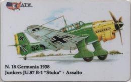 Scheda Telefonica ATW Serie Aerei N. 18 Junkers JU. 87 B-1 Stuka ASsalto Germania 1938 - Aerei