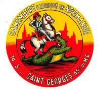 P 883 - ETIQUETTE DE FROMAGE -  CAMEMBERT  SAINT GEORGES  FAB. EN NORMANDIE  14 S. - Cheese