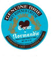 P 891 - ETIQUETTE DE FROMAGE -  BRIE   COEUR DE NORMANDIE  NORMANDIE LAIT LISIEUX   (CALVADOS) - Cheese