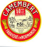 P 896- ETIQUETTE DE FROMAGE - CAMEMBERT  J. CRESPIN & SOEUR FALAISE  14 A F. (CALVADOS) - Cheese