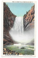 WY Yellowstone Park Great Falls From Below Vtg Haynes Curt Teich 1927 Postcard Wyoming - USA National Parks