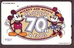 Télécarte Japon * 110-194740 * DISNEY  (4969) HAPPY 70th YEARS * JAPAN PHONECARD Telefonkarte - Disney