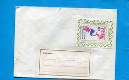 """Marcophilie-FRANCE-Lettre Avec Vignette Porte Timbre -publicité """"PONT AVEN"""" La Ville D'art-a Voyagé Cad Pont Aven 1986 - Marcophilie (Lettres)"""