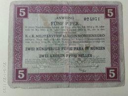 Montenegro 5  Perpera 1917  Occupazione Austria - Jugoslawien