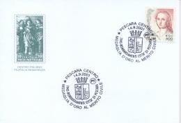 Italia 2001 Annullo Speciale Su Cartoncino Pescara Bombardamenti Del 1943 Conferimento Medaglia D'Oro Al Merito Civile - Seconda Guerra Mondiale